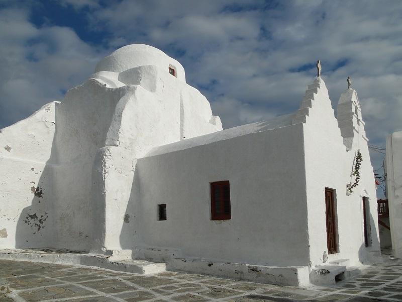 Windmills of the Mykonos Island, Chora. Cyclades, Agean Sea, Greece.