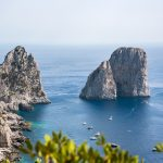 Aerial view of Faraglioni rocks at Capri Island
