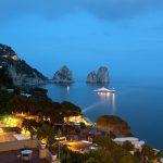 Faraglioni by night, famous giant rocks, Capri island