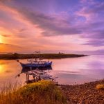 Fishing boat Lesvos at sunrise