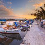 Greek Fishing boats harbor scene