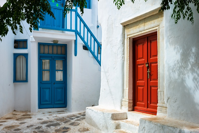 Greek Mykonos street on Mykonos island, Greece