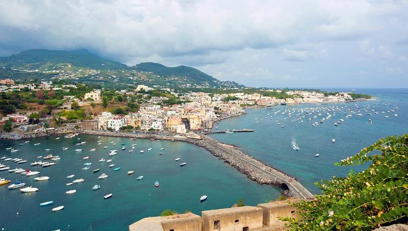 Ischia island and Forio beach coast panorama. Campania, Italy.