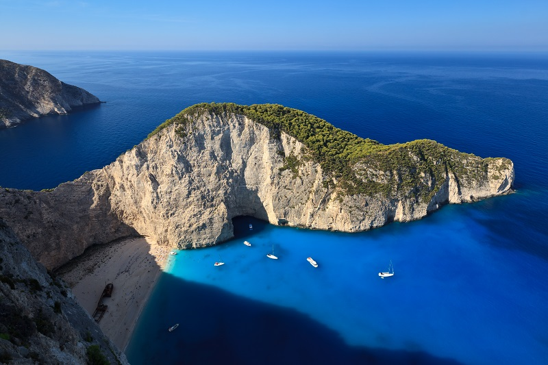 Navagio beach in Zakynthos, Greece