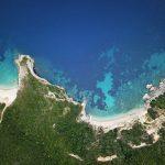 Picturesque coast of Corfu island. Beautiful sea landscape