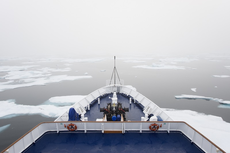Canadian Arctic waters,,Canada,The view over the decks of a cruise ship in the Canadian Arctic region, moving through ice floes.