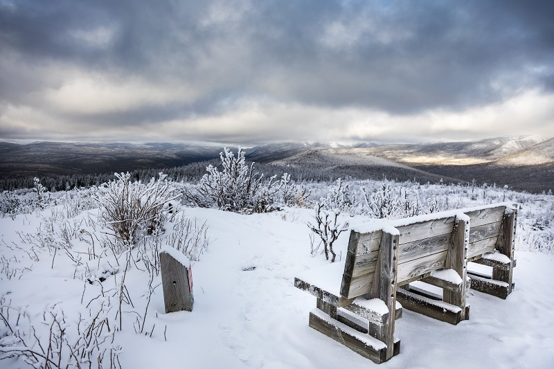 Amazing Winter Landscape from Top of Mountain in Canada, Quebec
